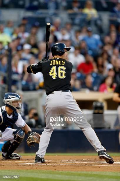 Garrett Jones of the Pittsburgh Pirates bats during the game against the San Diego Padres at Petco Park on August 20 2013 in San Diego California The...