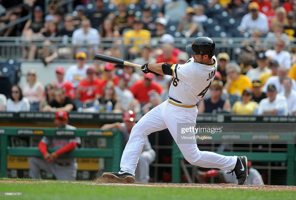 <a gi-track='captionPersonalityLinkClicked' href=/galleries/search?phrase=Garrett+Jones&family=editorial&specificpeople=835861 ng-click='$event.stopPropagation()'>Garrett Jones</a> #46 of the Pittsburgh Pirates becomes the first Pirates player to hit a home run directly into the Allegheny River during the eighth inning against the Cincinnati Reds at PNC Park on June 2, 2013 in Pittsburgh, Pennsylvania.
