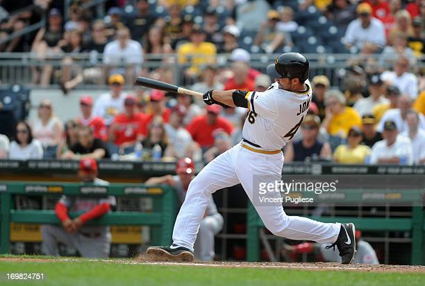 Garrett Jones of the Pittsburgh Pirates becomes the first Pirates player to hit a home run directly into the Allegheny River during the eighth inning...