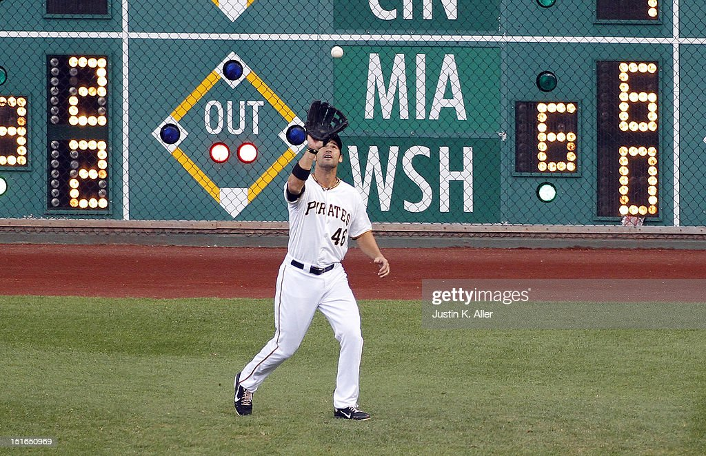 <a gi-track='captionPersonalityLinkClicked' href=/galleries/search?phrase=Garrett+Jones&family=editorial&specificpeople=835861 ng-click='$event.stopPropagation()'>Garrett Jones</a> #46 of the Pittsburgh Pirates catches a fly ball against the Chicago Cubs during the game on September 9, 2012 at PNC Park in Pittsburgh, Pennsylvania.