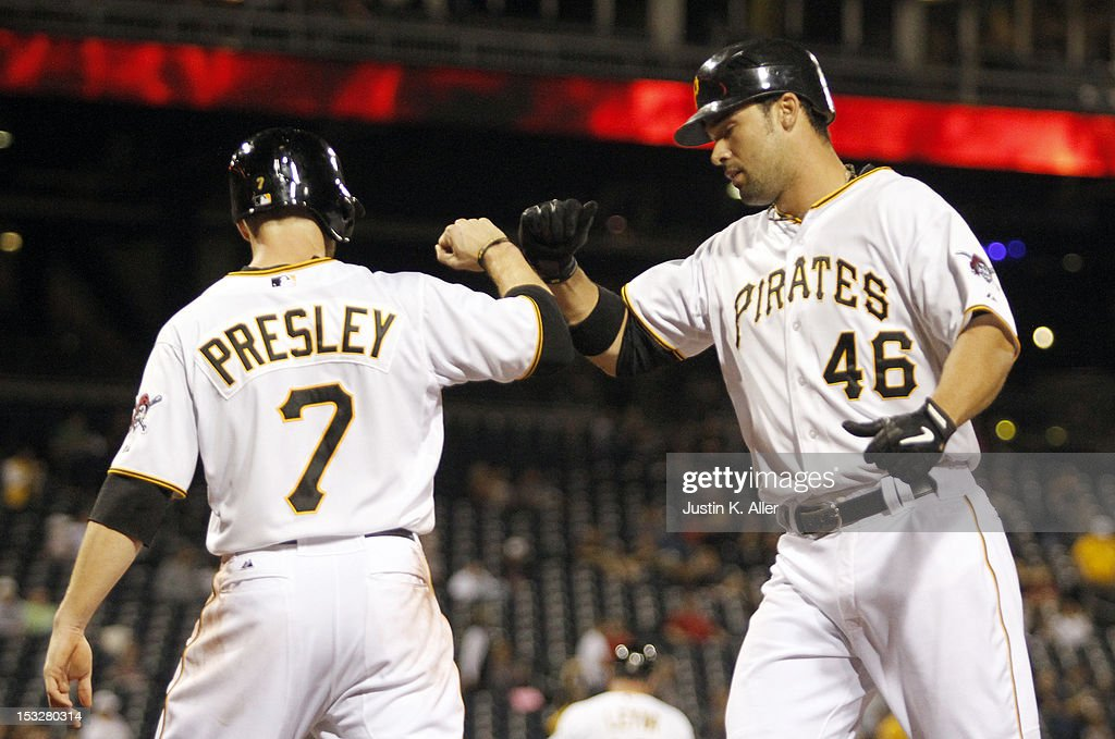 <a gi-track='captionPersonalityLinkClicked' href=/galleries/search?phrase=Garrett+Jones&family=editorial&specificpeople=835861 ng-click='$event.stopPropagation()'>Garrett Jones</a> #46 of the Pittsburgh Pirates celebrates after hitting a two run home run in the fifth inning against the Atlanta Braves during the game on October 2, 2012 at PNC Park in Pittsburgh, Pennsylvania.