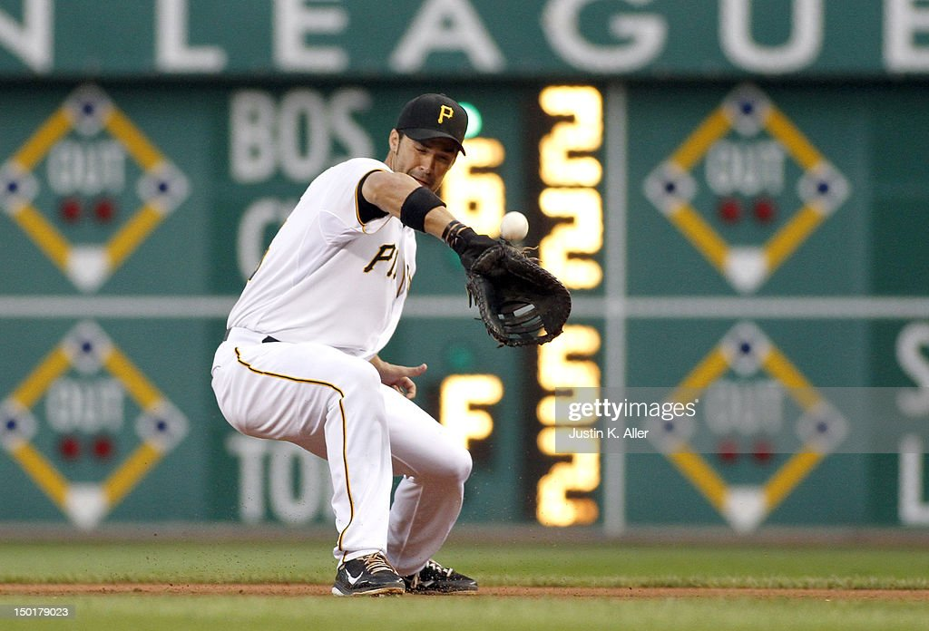 <a gi-track='captionPersonalityLinkClicked' href=/galleries/search?phrase=Garrett+Jones&family=editorial&specificpeople=835861 ng-click='$event.stopPropagation()'>Garrett Jones</a> #46 of the Pittsburgh Pirates errors against the San Diego Padres during the game on August 11, 2012 at PNC Park in Pittsburgh, Pennsylvania.