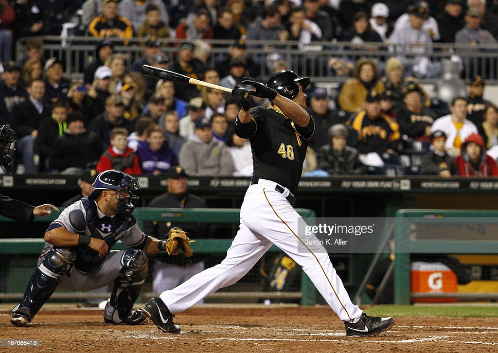 <a gi-track='captionPersonalityLinkClicked' href=/galleries/search?phrase=Garrett+Jones&family=editorial&specificpeople=835861 ng-click='$event.stopPropagation()'>Garrett Jones</a> #46 of the Pittsburgh Pirates hits a two RBI single in the fifth inning against the Atlanta Braves during the game on April 19, 2013 at PNC Park in Pittsburgh, Pennsylvania.
