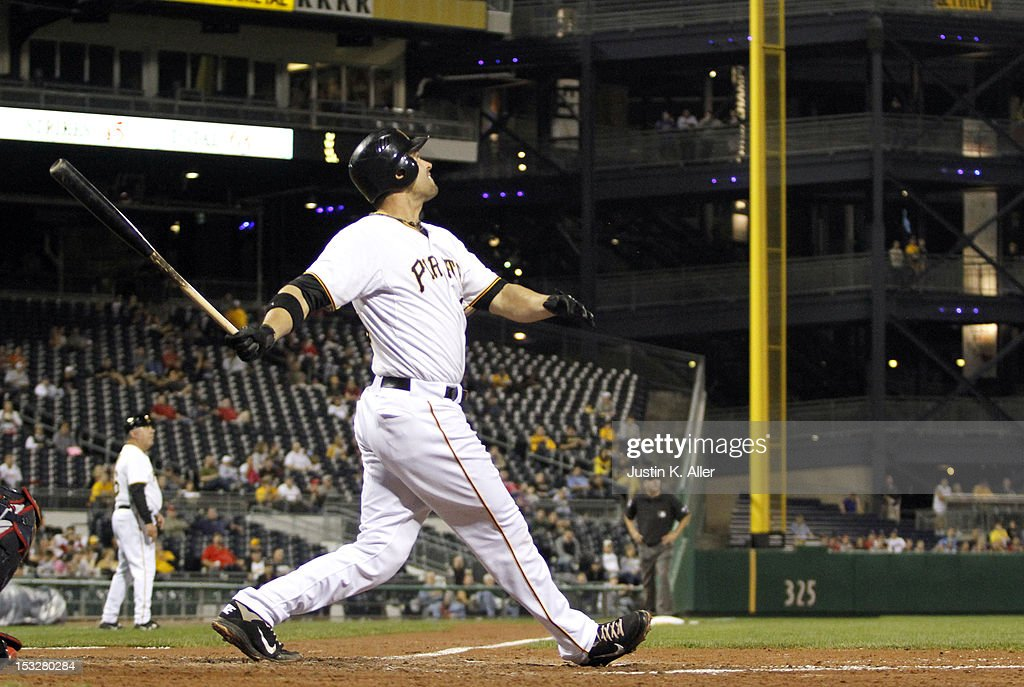 <a gi-track='captionPersonalityLinkClicked' href=/galleries/search?phrase=Garrett+Jones&family=editorial&specificpeople=835861 ng-click='$event.stopPropagation()'>Garrett Jones</a> #46 of the Pittsburgh Pirates hits an two run home run in the fifth inning against the Atlanta Braves during the game on October 2, 2012 at PNC Park in Pittsburgh, Pennsylvania.