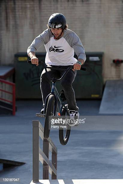 Garrett Reynolds rides to a gold medal in the BMX Freestyle Street Final during day 4 of X Games 17 at the Event Deck at LA Live on July 31 2011 in...