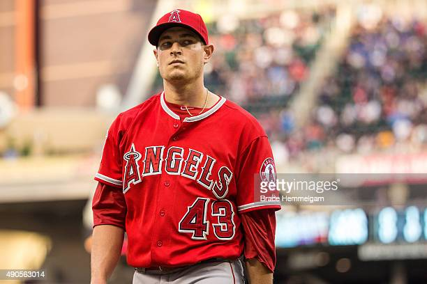 Garrett Richards of the Los Angeles Angels looks on in the second game of a doubleheader against the Minnesota Twins on September 19 2015 at Target...