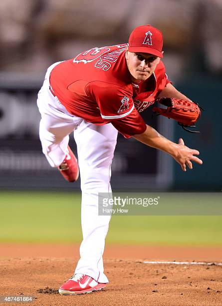 Garrett Richards of the Los Angeles Angels makes his first pitch of the game to Scott Schebler of the Los Angeles Dodgers resulting in a homerun...