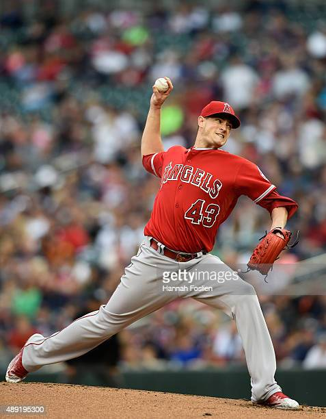 Garrett Richards of the Los Angeles Angels of Anaheim delivers a pitch against the Minnesota Twins during the first inning in the second game of a...