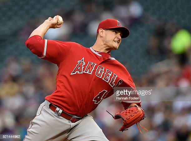 Garrett Richards of the Los Angeles Angels of Anaheim delivers a pitch against the Minnesota Twins during the first inning of the game on April 15...