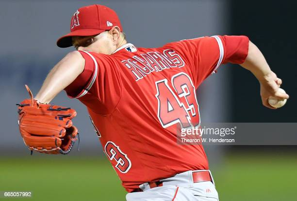 Garrett Richards of the Los Angeles Angels of Anaheim pitches against the Oakland Athletics in the bottom of the second inning at the OaklandAlameda...