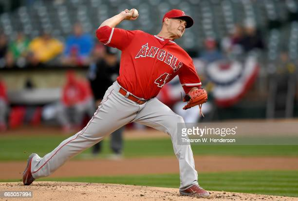 Garrett Richards of the Los Angeles Angels of Anaheim pitches against the Oakland Athletics in the bottom of the first inning at the OaklandAlameda...