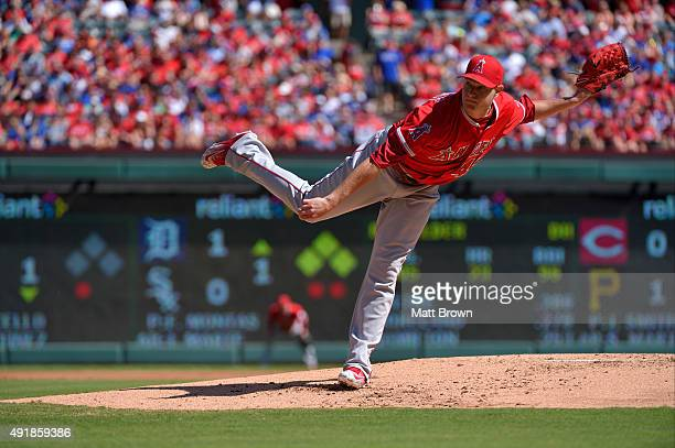Garrett Richards of the Los Angeles Angels of Anaheim pitches during the first inning of the game against the Texas Rangers at Globe Life Park in...