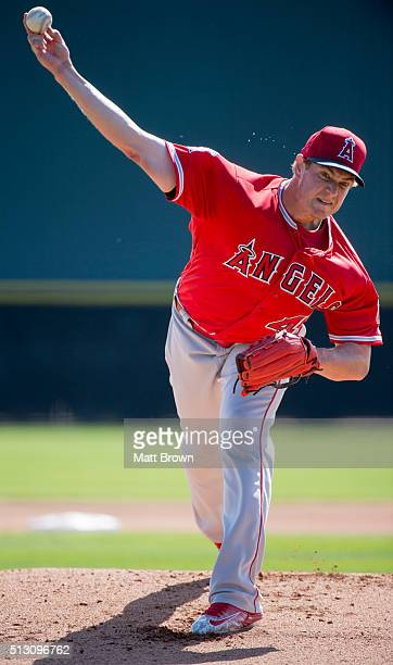 Garrett Richards of the Los Angeles Angels of Anaheim pitches during spring training on February 27 2016 at Tempe Diablo Stadium in Tempe Arizona