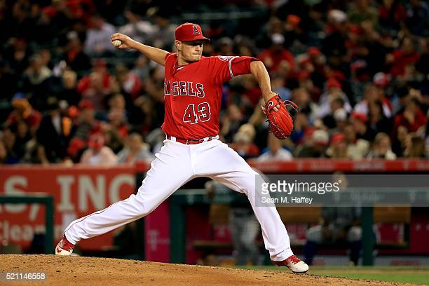 Garrett Richards of the Los Angeles Angels of Anaheim pitches during the fifth inning of a baseball game between the Los Angeles Angels of Anaheim...