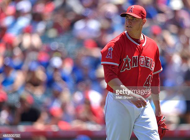 Garrett Richards of the Los Angeles Angels of Anaheim reacts during the game against the Toronto Blue Jays at Angel Stadium of Anaheim on August 23...