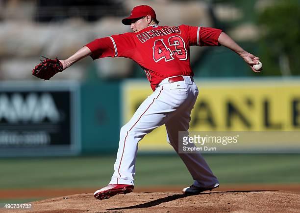 Garrett Richards of the Los Angeles Angels of Anaheim the Oakland Athletics at Angel Stadium of Anaheim on September 30 2015 in Anaheim California