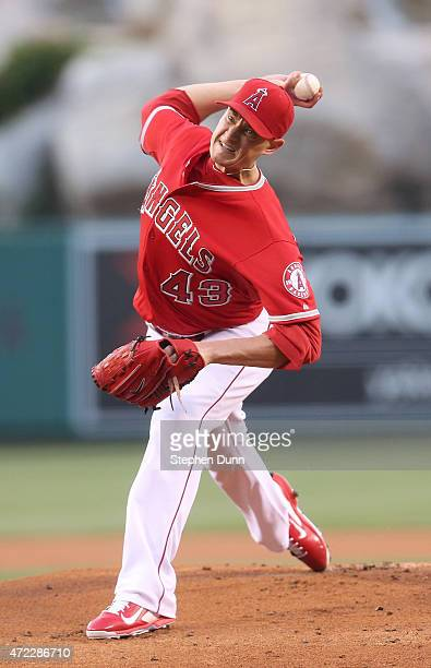 Garrett Richards of the Los Angeles Angels of Anaheim throws a pitch against the Seattle Mariners at Angel Stadium of Anaheim on May 5 2015 in...
