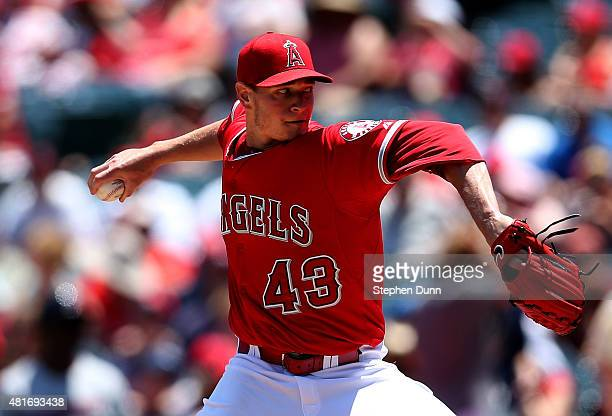 Garrett Richards of the Los Angeles Angels of Anaheim throws a pitch against the Minnesota Twins at Angel Stadium of Anaheim on July 23 2015 in...