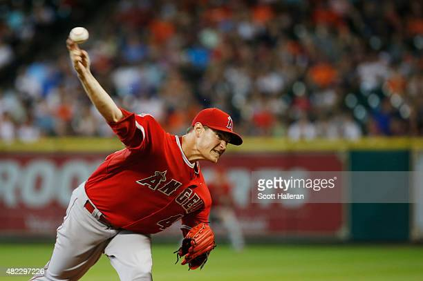 Garrett Richards of the Los Angeles Angels of Anaheim throws a pitch in the second inning during their game against the Houston Astros at Minute Maid...