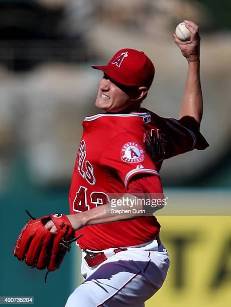 Garrett Richards of the Los Angeles Angels of Anaheim throws a pitch against the Oakland Athletics at Angel Stadium of Anaheim on September 30 2015...