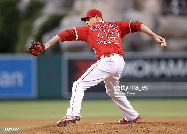 Garrett Richards of the Los Angeles Angels of Anaheim throws a ptich against the Texas Rangers at Angel Stadium of Anaheim on September 4 2015 in...