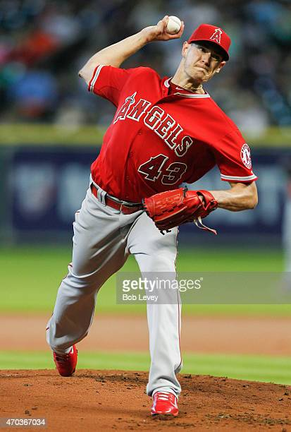Garrett Richards of the Los Angeles Angels of Anaheim throws in the first inning against the Houston Astros at Minute Maid Park on April 19 2015 in...