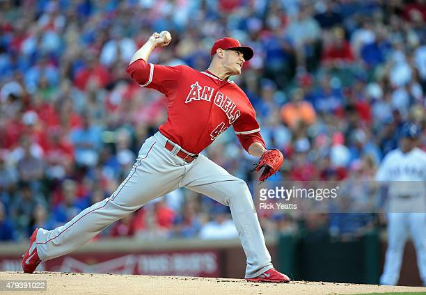 Garrett Richards of the Los Angeles Angels of Anaheim throws in the first inning against the Texas Rangers at Rangers Ballpark in Arlington on July 3...