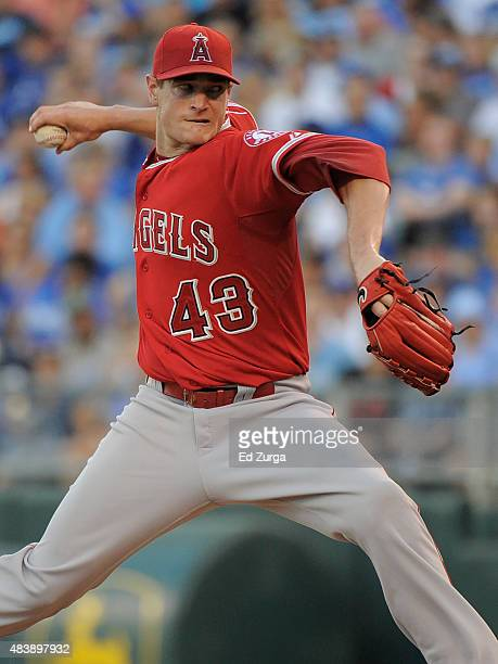 Garrett Richards of the Los Angeles Angels of Anaheim throws in the first inning against the Kansas City Royals at Kauffman Stadium on August 13 2015...