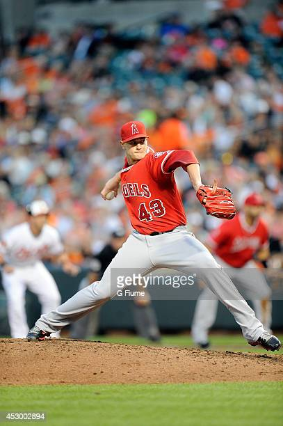 Garrett Richards of the Los Angeles Angels pitches against the Baltimore Orioles at Oriole Park at Camden Yards on July 30 2014 in Baltimore Maryland