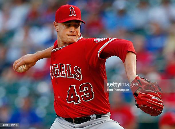 Garrett Richards of the Los Angeles Angels pitches against the Texas Rangers in the bottom of the first inning at Globe Life Park in Arlington on...