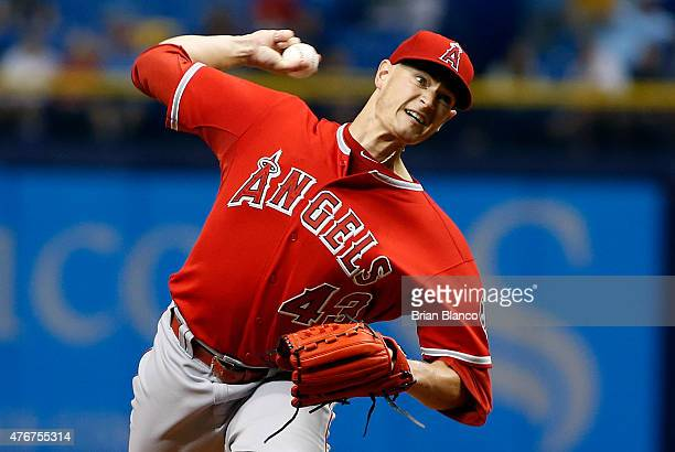 Garrett Richards of the Los Angeles Angels pitches during the first inning of a game against the Tampa Bay Rays on June 11 2015 at Tropicana Field in...