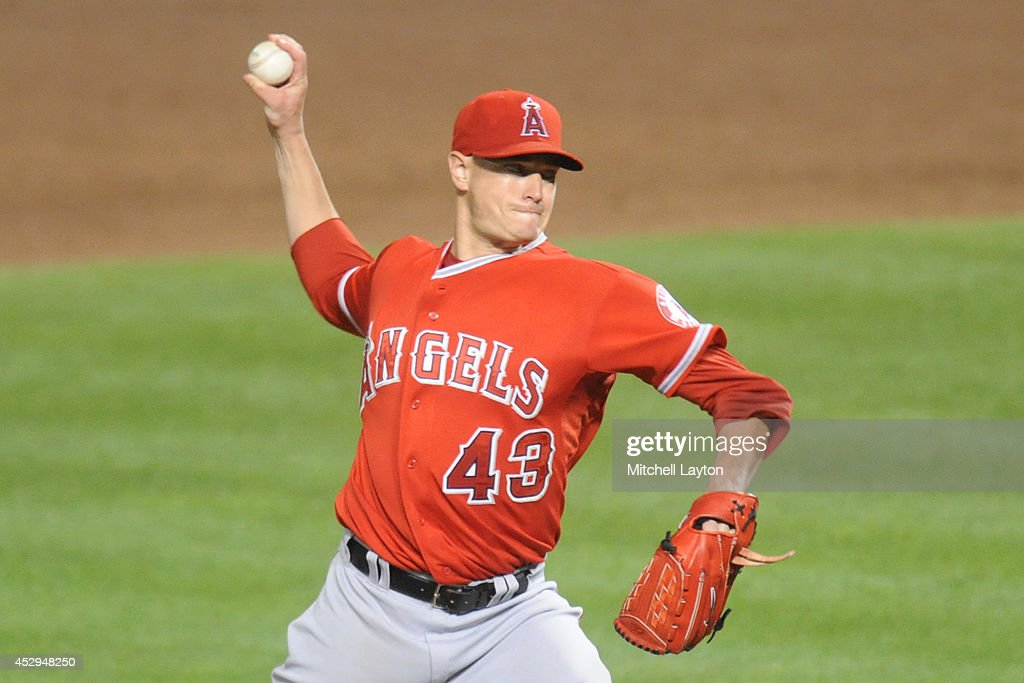 Garrett Richards #43 of the Los Angeles Angels pitches in the fifth inning during a baseball game against the Baltimore Orioles on July 30, 2014 at Oriole Park at Camden Yards in Baltimore, Maryland.