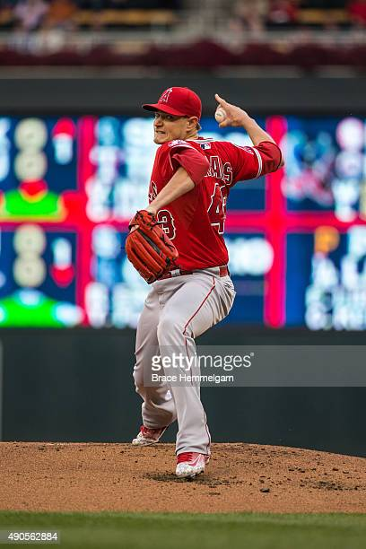 Garrett Richards of the Los Angeles Angels pitches in the second game of a doubleheader against the Minnesota Twins on September 19 2015 at Target...