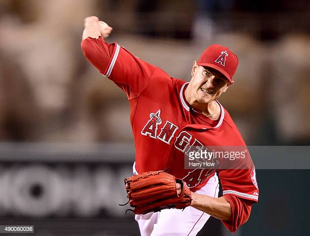 Garrett Richards of the Los Angeles Angels pitches to the Seattle Mariners during the first inning at Angel Stadium of Anaheim on September 25 2015...