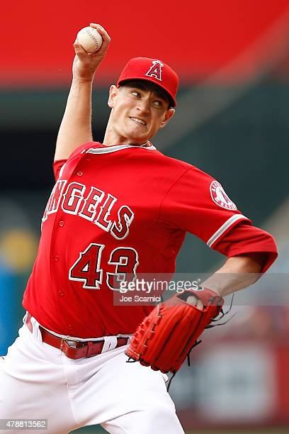 Garrett Richards of the Los Angeles Angels throws a pitch in the first inning against the Seattle Mariners at Angel Stadium of Anaheim on June 27...