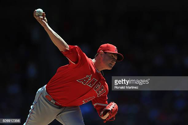 Garrett Richards of the Los Angeles Angels throws against the Texas Rangers in the first inning at Globe Life Park in Arlington on May 1 2016 in...