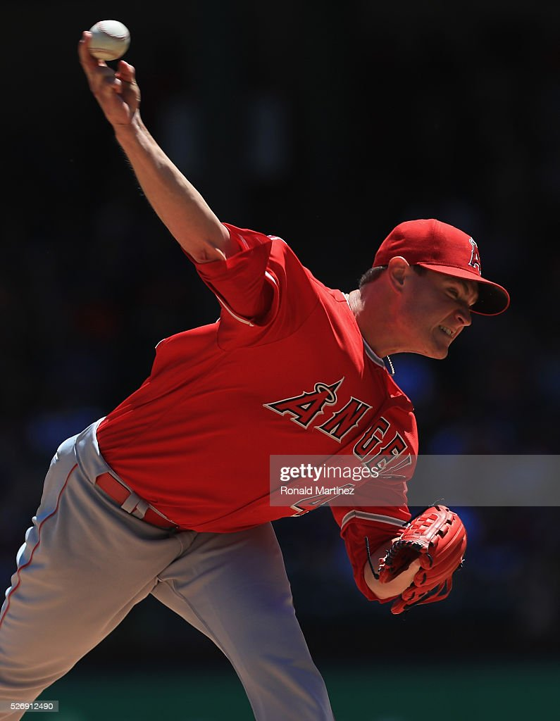 <a gi-track='captionPersonalityLinkClicked' href=/galleries/search?phrase=Garrett+Richards&family=editorial&specificpeople=5772916 ng-click='$event.stopPropagation()'>Garrett Richards</a> #43 of the Los Angeles Angels throws against the Texas Rangers in the first inning at Globe Life Park in Arlington on May 1, 2016 in Arlington, Texas.