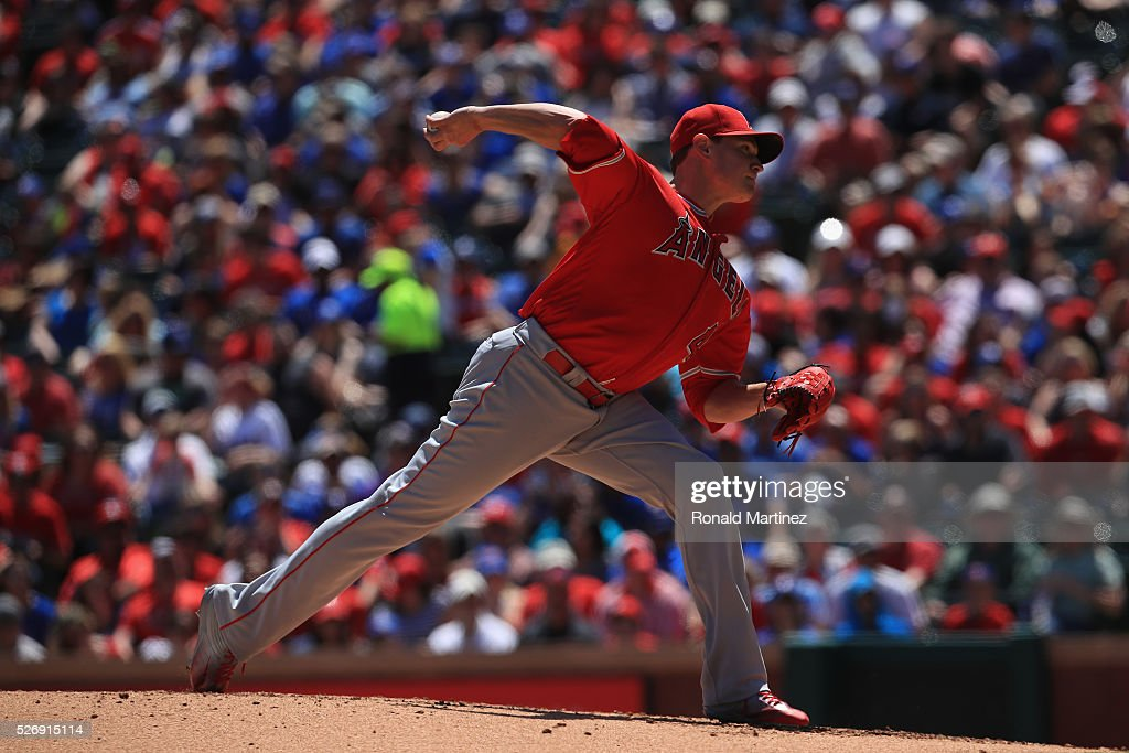 Garrett Richards #43 of the Los Angeles Angels throws against the Texas Rangers in the second inning at Globe Life Park in Arlington on May 1, 2016 in Arlington, Texas.