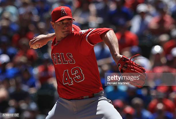 Garrett Richards of the Los Angeles Angels throws against the Texas Rangers in the second inning at Globe Life Park in Arlington on May 1 2016 in...