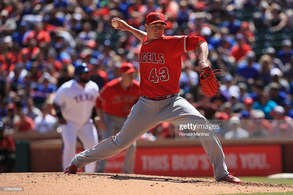 Garrett Richards #43 of the Los Angeles Angels throws against the Texas Rangers in the fourth inning at Globe Life Park in Arlington on May 1, 2016 in Arlington, Texas.