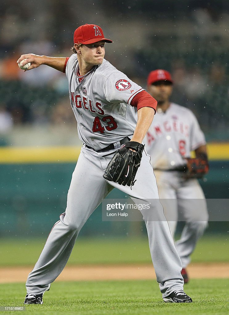 Garrett Richarrds #43 of the Los Angeles Angels of Anaheim throws out <a gi-track='captionPersonalityLinkClicked' href=/galleries/search?phrase=Austin+Jackson&family=editorial&specificpeople=608633 ng-click='$event.stopPropagation()'>Austin Jackson</a> #14 of the Detroit Tigers in the seventh inning of the game at Comerica Park on June 25, 2013 in Detroit, Michigan. The Angels defeated the 14-8.