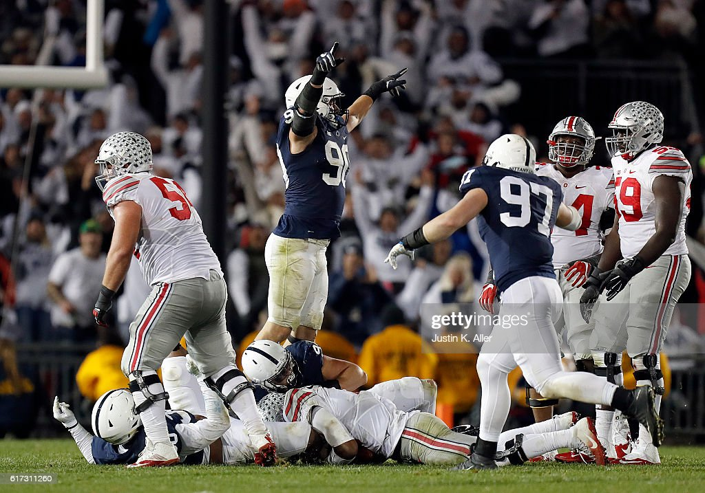 Garrett Sickels #90 of the Penn State Nittany Lions celebrates after a sack on 4th down in the fourth quarter during the game against the Ohio State Buckeyes on October 22, 2016 at Beaver Stadium in State College, Pennsylvania.