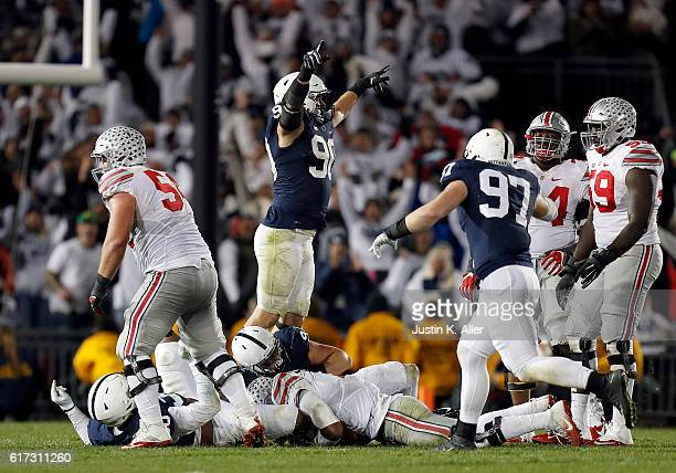 Garrett Sickels of the Penn State Nittany Lions celebrates after a sack on 4th down in the fourth quarter during the game against the Ohio State...