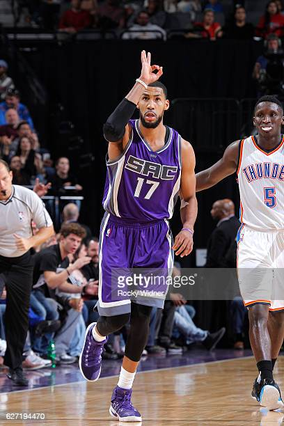 Garrett Temple of the Sacramento Kings celebrates after making a three pointer against the Oklahoma City Thunder on November 23 2016 at Golden 1...