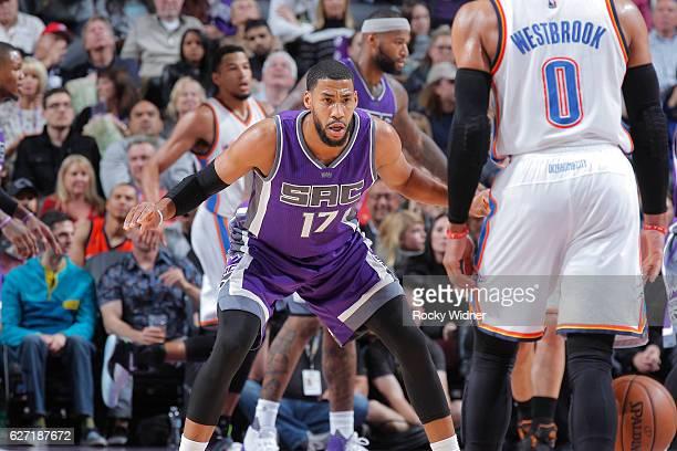Garrett Temple of the Sacramento Kings defends against the Oklahoma City Thunder on November 23 2016 at Golden 1 Center in Sacramento California NOTE...