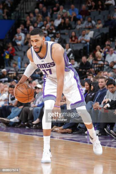 Garrett Temple of the Sacramento Kings handles the ball during a game against the Memphis Grizzlies on March 27 2017 at Golden 1 Center in Sacramento...