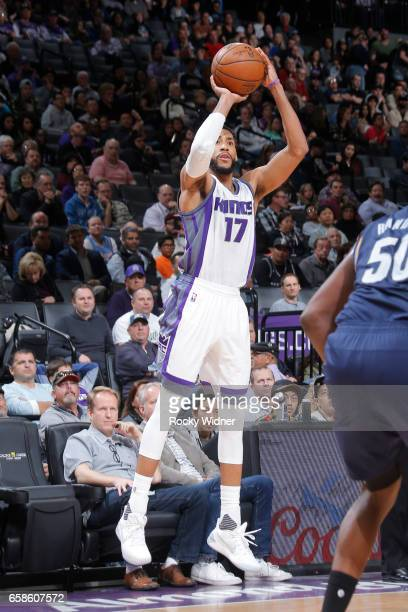 Garrett Temple of the Sacramento Kings shoots the ball during a game against the Memphis Grizzlies on March 27 2017 at Golden 1 Center in Sacramento...