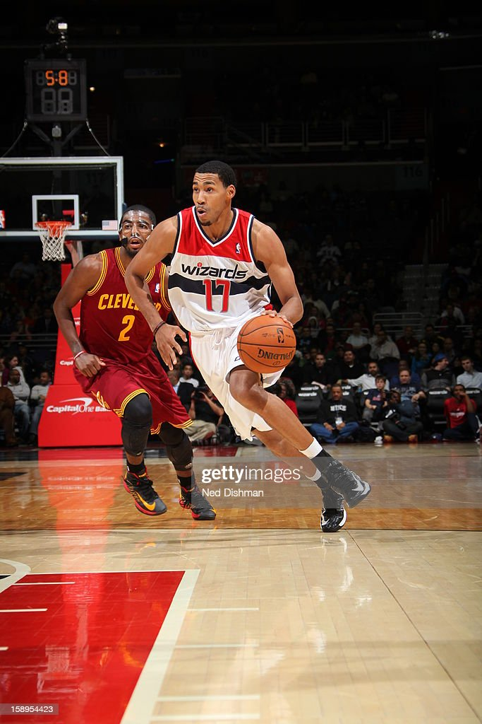 <a gi-track='captionPersonalityLinkClicked' href=/galleries/search?phrase=Garrett+Temple&family=editorial&specificpeople=709398 ng-click='$event.stopPropagation()'>Garrett Temple</a> #17 of the Washington Wizards brings the ball up court against the Cleveland Cavaliers at the Verizon Center on December 26, 2012 in Washington, DC.