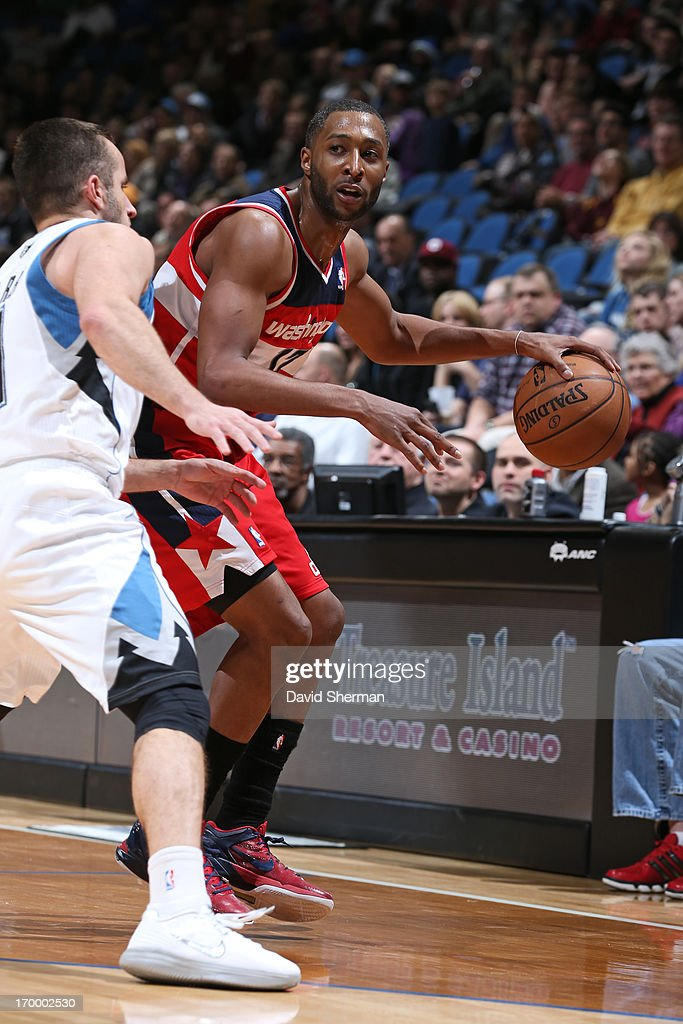 Garrett Temple #17 of the Washington Wizards dribbles the ball against the Minnesota Timberwolves during the game on March 6, 2013 at Target Center in Minneapolis, Minnesota.