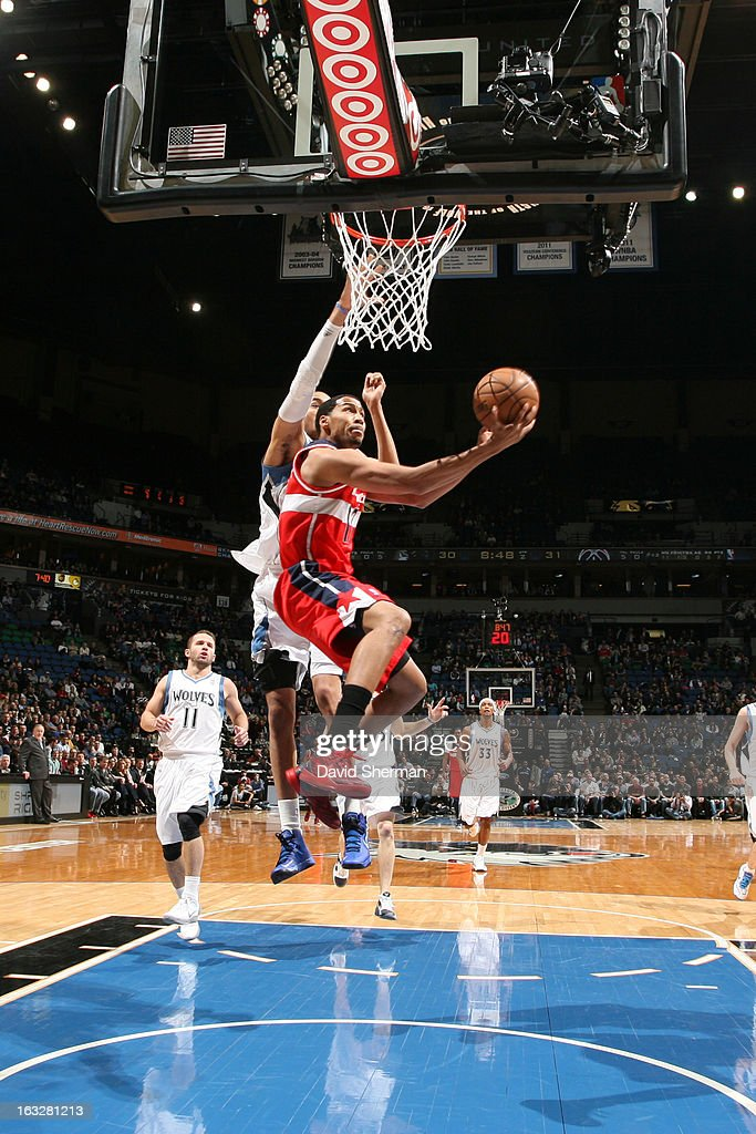 Garrett Temple #17 of the Washington Wizards goes to the basket against the Minnesota Timberwolves on March 6, 2013 at Target Center in Minneapolis, Minnesota.